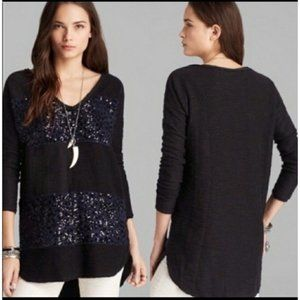 Free People v-neck sequin rugby tunic sweater
